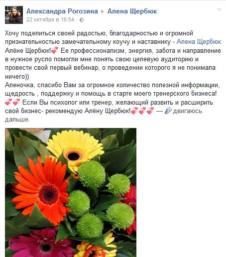 Отзыв Александры Рогозиной Алена Щербюк