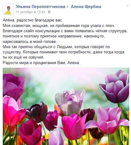 Отзыв Ульяны Переплетчиковой Алена Щербюк