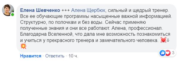 Отзыв Елены Шевченко об Алене Щербюк
